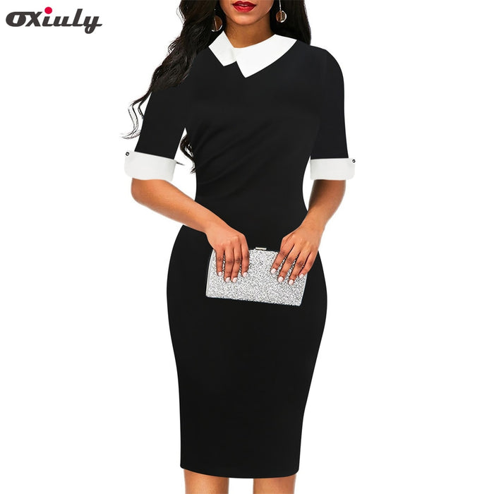 Oxiuly Casual Plain Office Work Midi Pencil Dress Women Formal Stretch Summer Short Sleeve Bodycon Sheath Party Black Dress