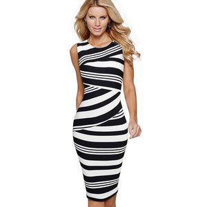 Women Elegant Striped Sleeveless Work Dress Casual O-Neck Sheath Fitted Office Lady Pencil Business Dress EB510