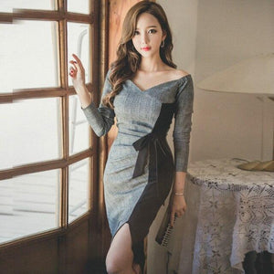 Plus Size Patchwork Pencil Dress Gray Full Sleeve Slash Neck Knee-length Bow Elegant Office Lady Dress Vintage Party Wrap Dress