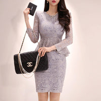 Elegant Women Dress Spring Summer Fashion Lace Dress Sexy O Neck Long Sleeve
