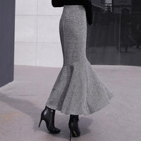 Women Woolen Skirts 2018 Fashion Winter New Retro Houndstooth Mermaid Skirt Trumpet High Waist Ruffles skirt