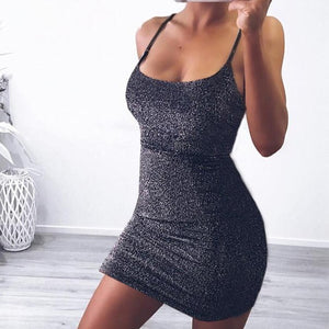 AL'OFA Sexy Sequined Party Dress Women Cocktail Dresses Sleeveless Backless Lace-up Solid Shiny Sling Bodycon Nightclub Dress