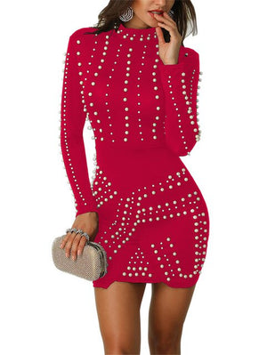 Women Beading Pearl Bodycon Dress Pullover Long Sleeve Office Ladies Party