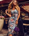 Women Sleeveless Bandage Bodycon Dress Sling Floral Printed Knee-length Dress Summer Cocktail Party Short Dresses Beach Sundress