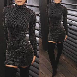 2019 Women Long Sleeves Rhinestones Stripes Bodycon Cocktail Party Club MINI Dress