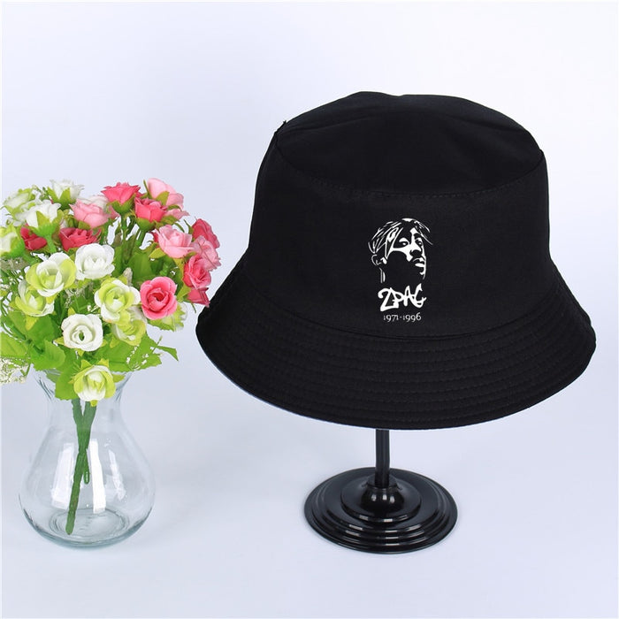 2Pac Tupac Shakur cap Women Mens Panama Bucket Hat Design Flat Sun Visor Fishing Fisherman Hat