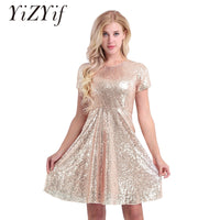 YiZYiF Dresses Women Sequins Cocktail Party Dress Ladies Round Neckline Short Sleeve Shiny Dress A-line Skater Dress Summer 2019