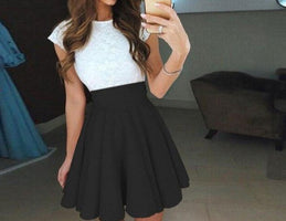 2019 Womens Sexy Lace Party Cocktail Mini Dress Ladies Summer Short Sleeve Skater Dress Mini Dress Vestidos  2.27