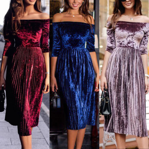 Womens Lady Velvet Off-Shoulder Long Sleeve Ruffles Maxi Dress Vestidos Party Club Tutu Skater Dresses Hot Clothes