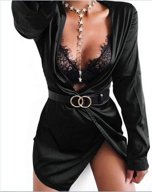 Hot Sexy Women Satin Party Cocktail Mini Dress Plunge Long Sleeve Knot Wrap Dress