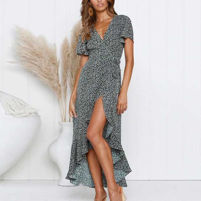 Women Ruffled V Neck Asymmetrical Dress Party Cocktail Wrap Long Short Sleeve