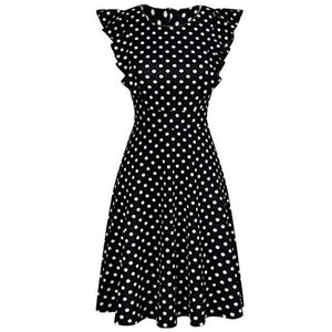 Women's Summer Vintage Ruffle Printed Sleeveless A Line Swing Casual Cocktail Party Midi Dress Dot