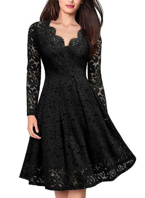 Women Vintage V Neck Empire Slim Swing Floral Lace Dress Cocktail
