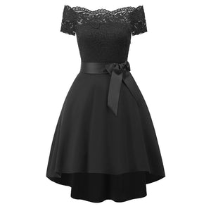 New arrive Women Vintage Off Shoulder Princess Floral Lace Cocktail Party Aline Swing Dress Spring Summer