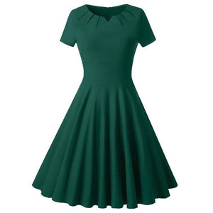 Womens Rockabilly Dress Short Sleeve Hepburn Style 50s 60s Vintage Party
