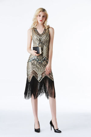 eDressU 2019 Vestidos Gold 1920s Vintage Great Gatsby Dress Flapper