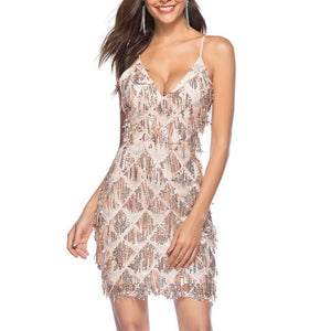 New Womens Sleeveless Inspired Sequins Embellished Fringe V-Neck Mini Dress Cocktail Nightclub Flapper Prom Dance Dress