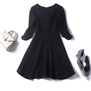 Women fashion asymmetric little black dress half sleeve V-neck elegant plus