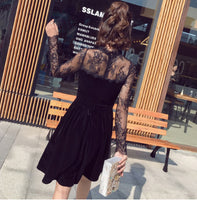 spring 2018 new Korean sexy dress fashion lace stitching velvet A word thin base little black dress