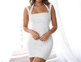Halter Bodycon Summer Dress Women Ruched Strap Slim Bandage Wrap