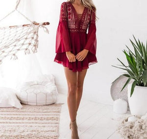 Sexy V Neck Flare Sleeve Womens Little Black Dress Lace up Burgundy