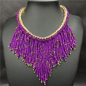 2019 Bohemian Necklaces Fashion For Women Jewelry Mujer Handwoven Collier Long Tassel Beads Choker Statement Necklaces N20