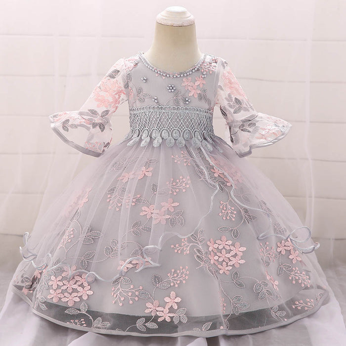 Newborn Baby Baptism Dress Baby Girl Party Dresses Girl Embroidery Half Sleeve Dress 1 Year Birthday Baby Girls Dress L5015xz