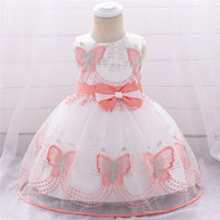 Butterfly Embroidery Baby Girl Dresses Bow Ball Gown Kids Dress Newborn Baby Baptism Party Birthday Baby Dresses L1891XZ
