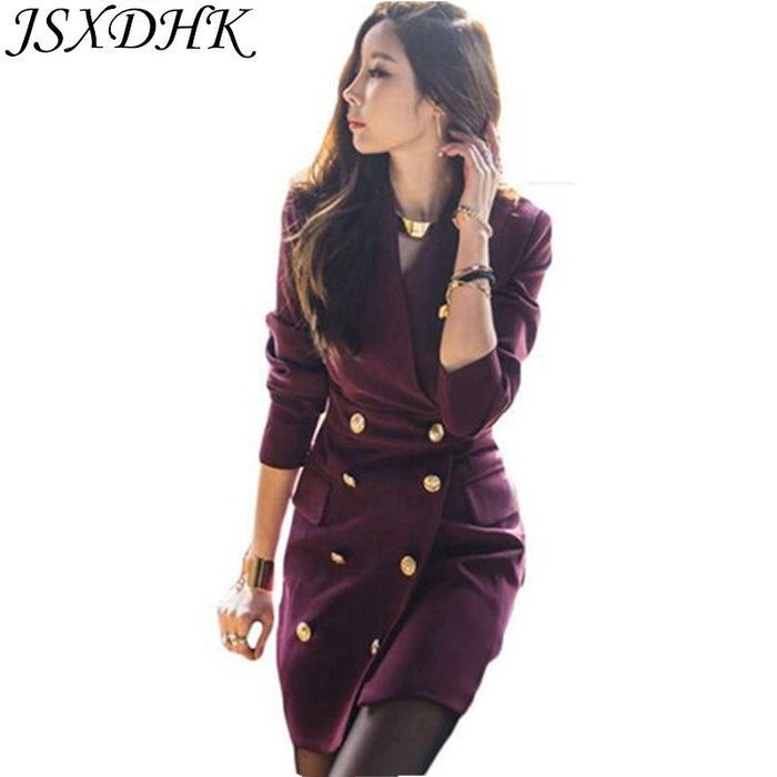 JSXDHK Wine Red Double-Breasted Blazers Pencil Work Dress 2019