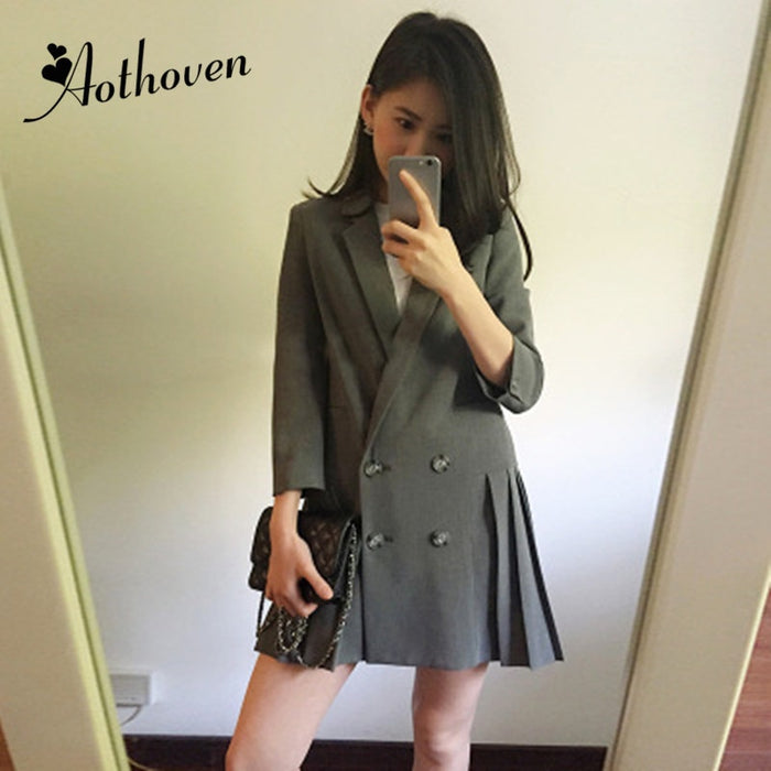 Women Office Formal Blazer Dress Suits Gray Notched Collar Long Sleeve