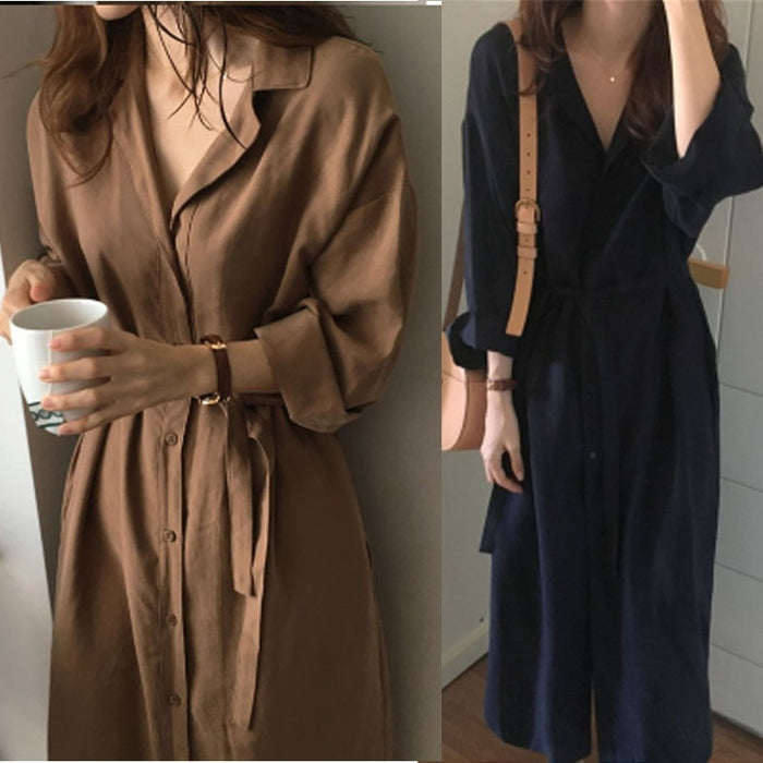 Long Sleeve Shirt Dress 2018 Spring Casual England Style DressesTurn Down Collar Buttons Mini Dresses Loose Trench Coat Autumn