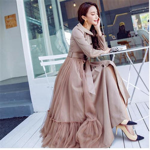 Fashion Female Outwear 2018 New Spring Gauze Patchwork Ultra Long Dress Single Breasted Slim Women Trench Coat Khaki Windbreaker