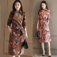 Women Windbreak printing autumn spring trench coat women long female wind breaker