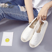 FGHGF Plus Size 35-40 Women Espadrilles Sneakers Comfortable Casual Loafers Shoes Woman Slip On Flats Hemp Candy Women Fisherman