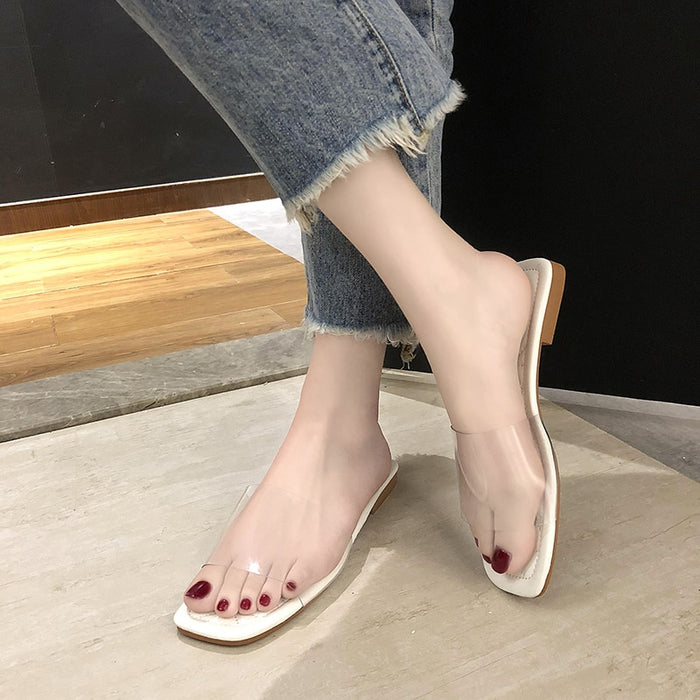 Fashion Summer Clear Transparent Slippers Women Shoes Slides Peep Toe Square Low Heels Slippers Women Shoes Mules Zapatos Mujer