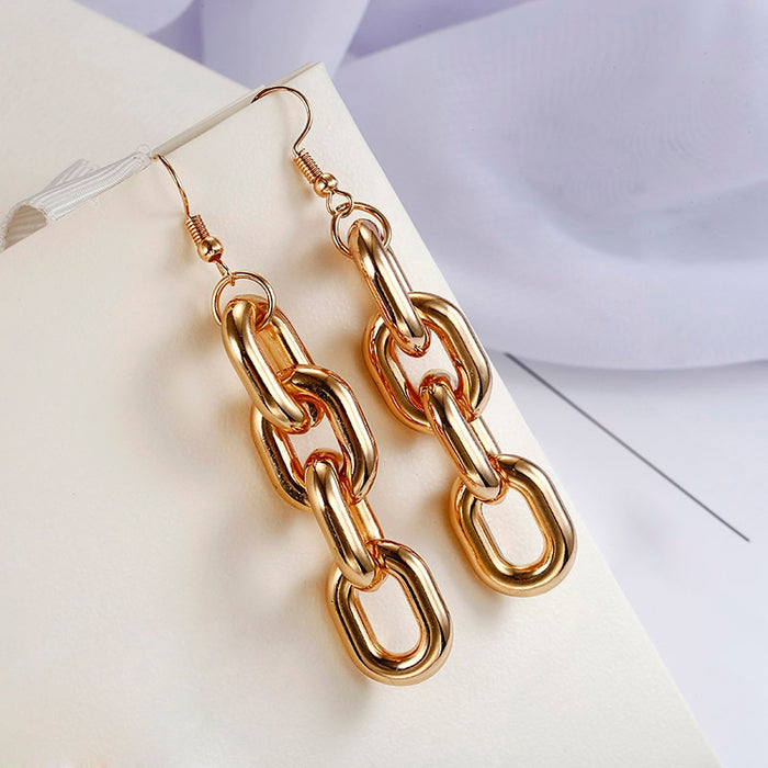 Punk Style Thick Link Chain Dangle Earrings For Women Brincos Zirconia Brinco