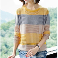 Women Hollow Out Pullover Summer Cool Ladies Knitted Crochet Tops Casual Yellow Jumper Knit Korea Striped Female  Knitwear Pull