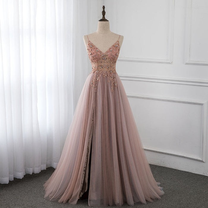 Sweet Dusky Pink Crystal Prom Dresses Long Straps Spaghetti See Through
