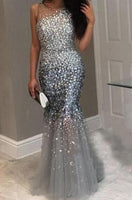 Luxury Crystal Gray Long Mermaid Prom Dresses Beaded Dubai Formal Evening
