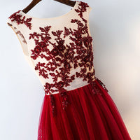 Spring Red Long Prom Dresses Lace Sequined Appliques Tulle Illusion