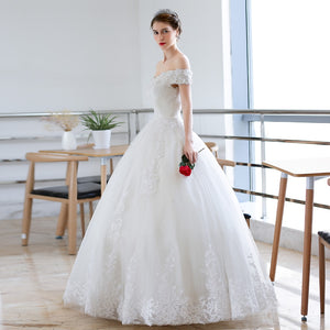 Luxury Full Lace Embroidery Appliques Wedding Dress Cap Sleeves Boat Neck Ball