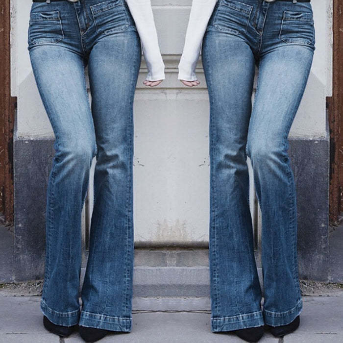 Jeans elastic waist Plus Loose Denim flare pants jeans Pocket woman high waist Casual Boot Cut Pant JeansZ401