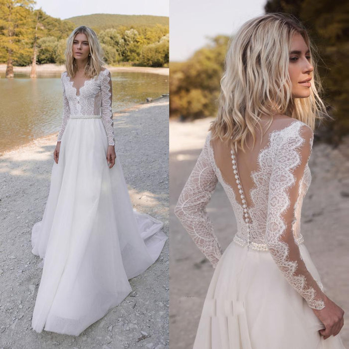 Bohemian Wedding Dresses V Neck Long Sleeve Lace Appliques Beads Bridal Gowns