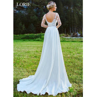 LORIE A-Line Wedding Dress With Lace Appliques Lace up Bride dress 2019 Long Sleeves