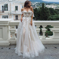 LORIE Boho Wedding Dress 2019 Appliques with Tulle Backless A-Line Wedding Gowns