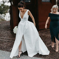 2019 Simple Satin A-Line Wedding Dress Sexy Deep V Backless Front Split Bridal Gowns