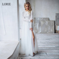 LORIE 2 Pieces A-Line Wedding Dress 2019 Lace Crop Top and Tulle skirt with Slit