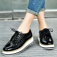 British style hollow out brogue shoes woman lace up japanned leather derby