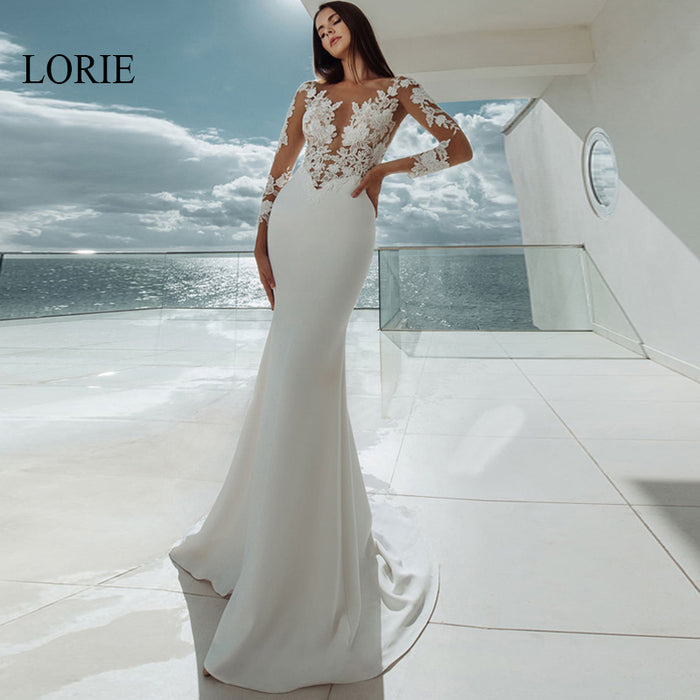 LORIE Elegant Appliques Mermaid Wedding Dress Long Sleeve Stain Bridal dresses