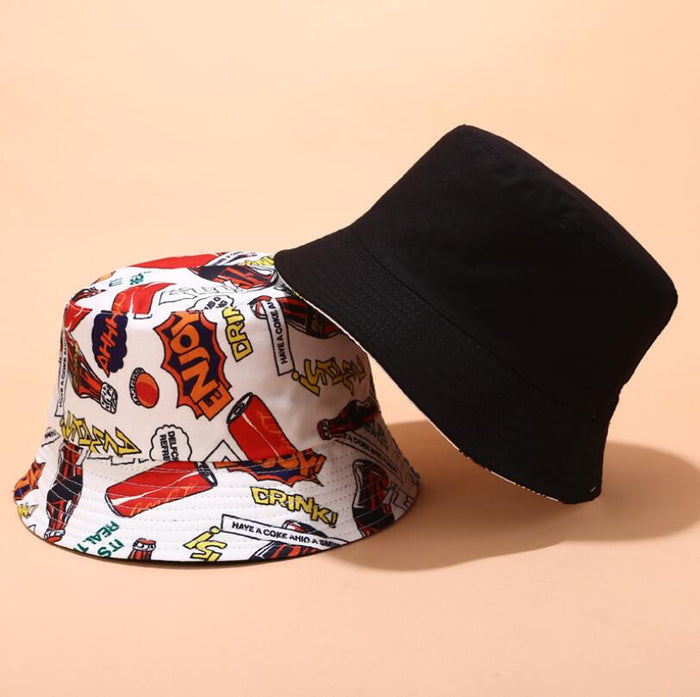 2019 Two Side Reversible Coke Drink bucket hat for men women hip hop fisherman hat Adult panama bob hat summer lovers flat hat